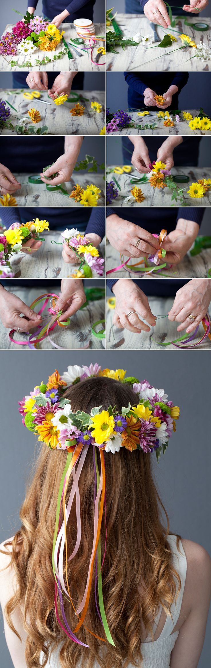 How To Make A Vibrant Floral Head Crown Pinterest Beltane