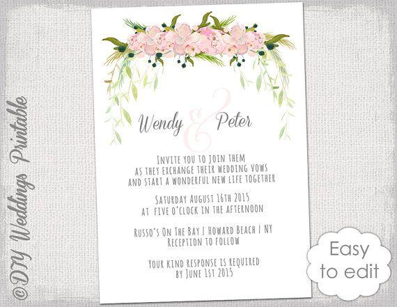 Wedding invitation template Printable wedding invitations Blush Pink