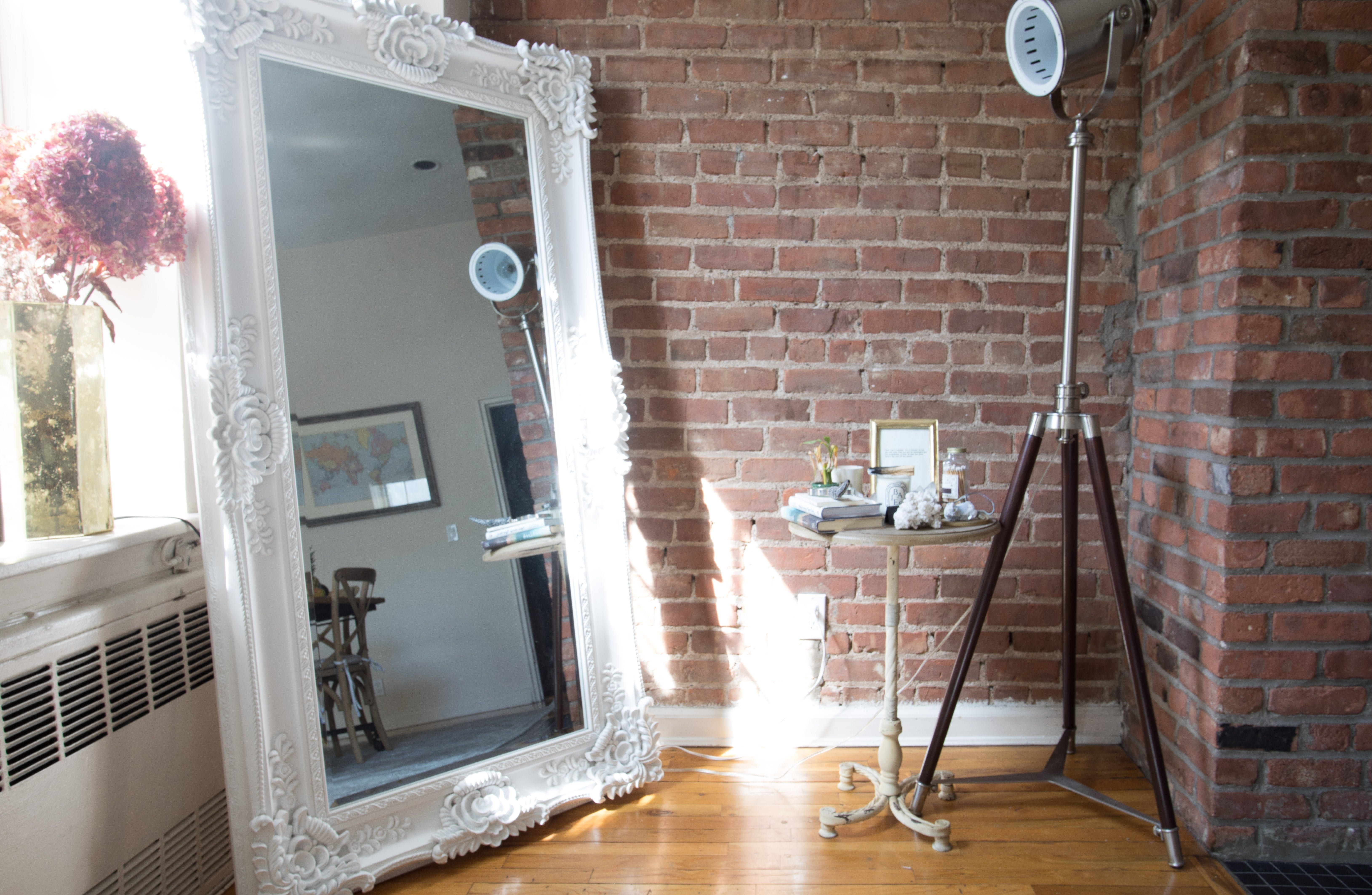 Tour a Thoughtfully-Designed Shabby Chic NYC Studio | Floor mirror ...