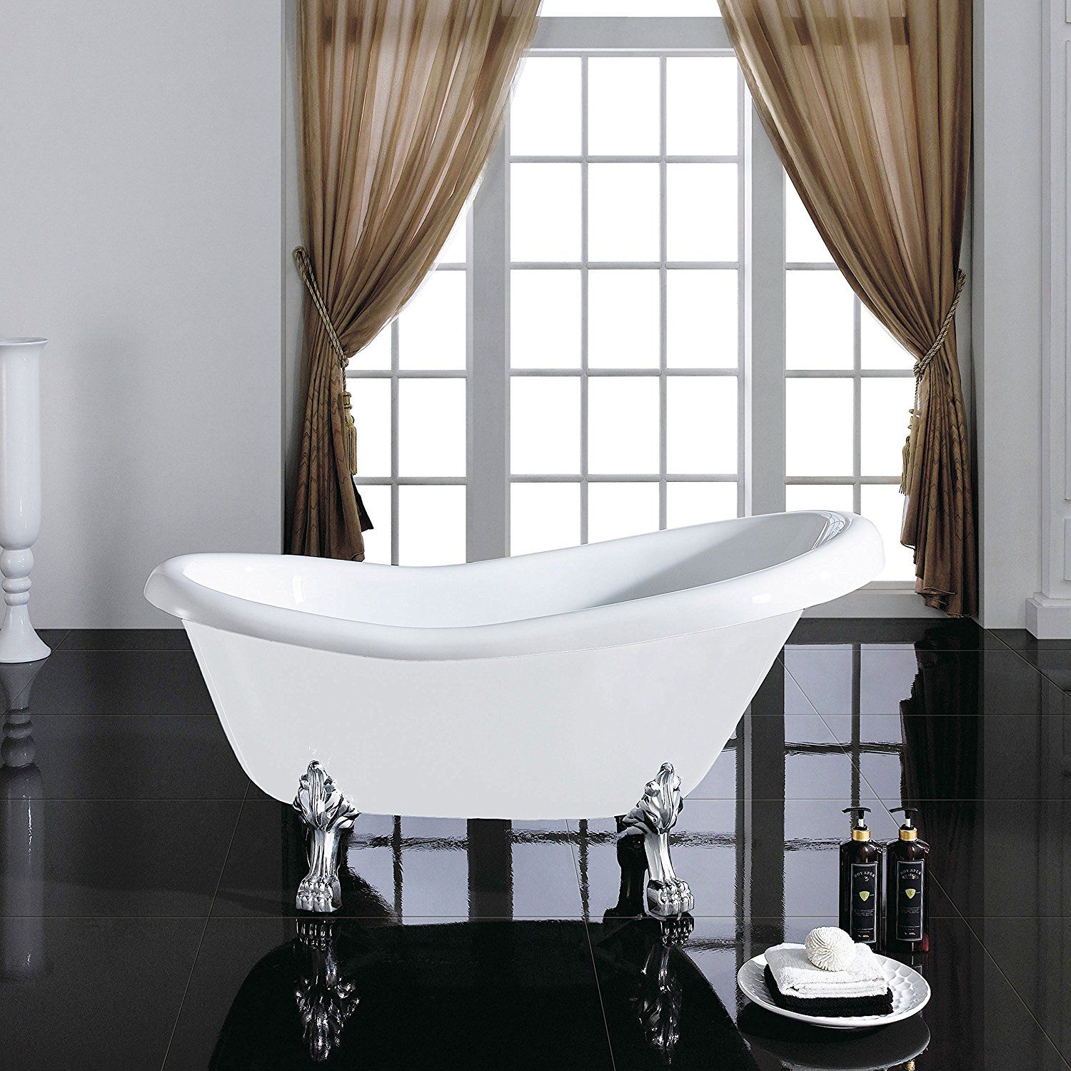MAYKKE Gibson 67 Inches Traditional Oval Acrylic Clawfoot Tub, White ...