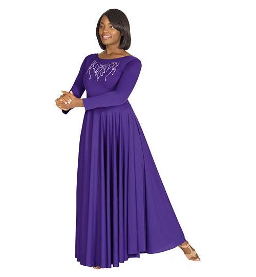 Eurotard 11024 Polyester Dress with Praise Rhinestone Applique - Adult - Praise Dance Garments. For Free Praise Dance Workbook, Email Angie