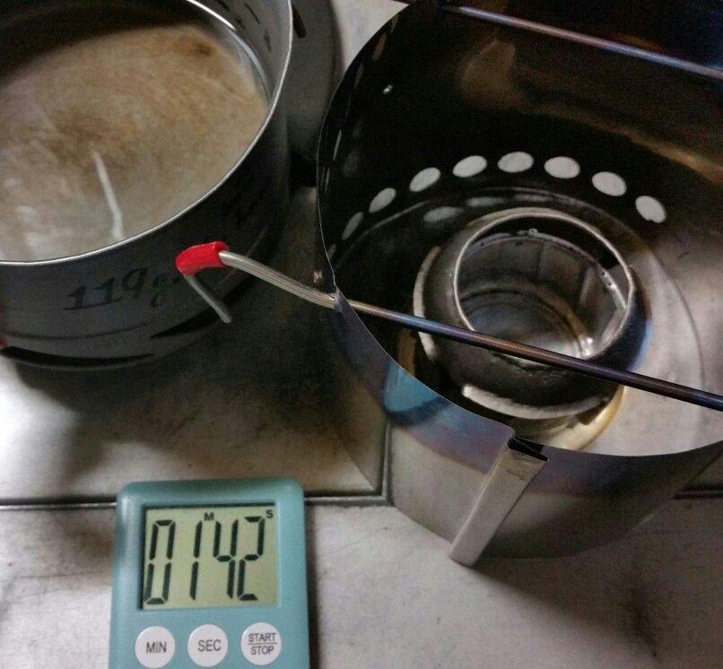 200ml boil time:102 second from ignite. H2O 20℃ to 95℃ , deg75, temperature:20℃ ,aluminium pod /with fin, FREVO stove + Bazooka. fuel:methanol 12 ml , prototype