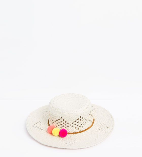 07a04ad0 Image 1 of Pompom straw hat from Zara | mimiii | Pinterest | Girl ...