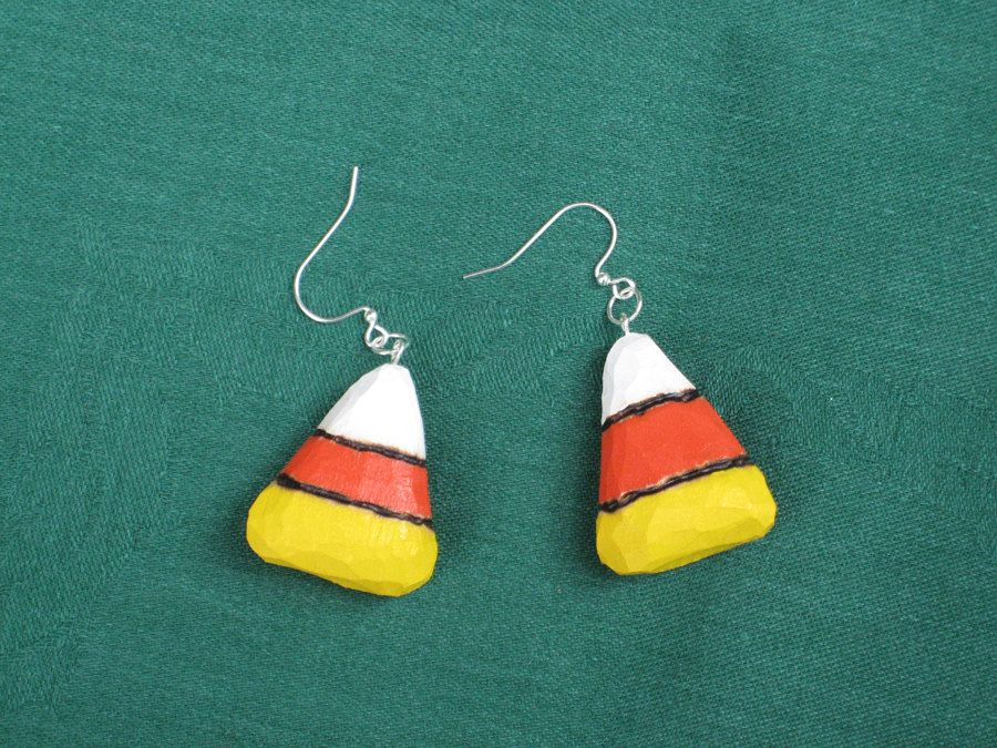 Hand Carved Candy Corn Earrings $7.00, via Etsy