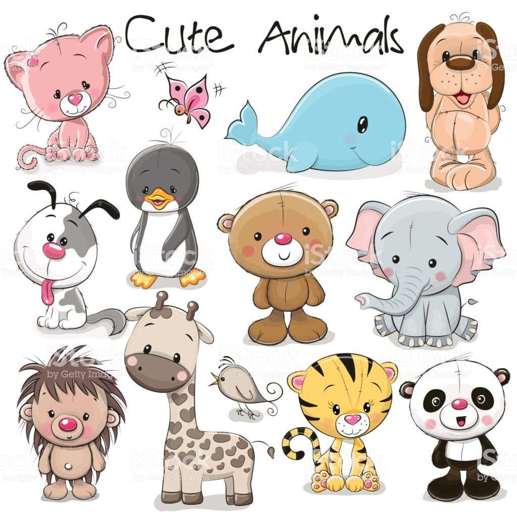 Set Of Cute Animals Royalty Free Animal Stock Vector Cartoon Baby Animals Cute Animals Cute Animal Clipart