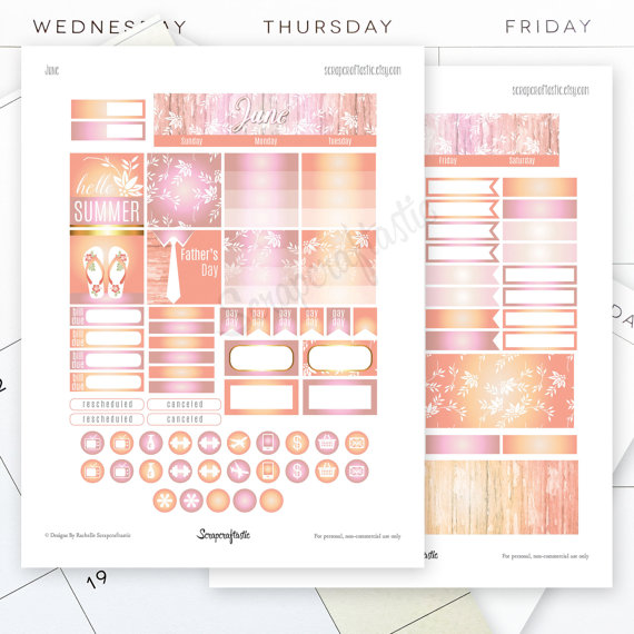 June Month View Printable Planner Stickers