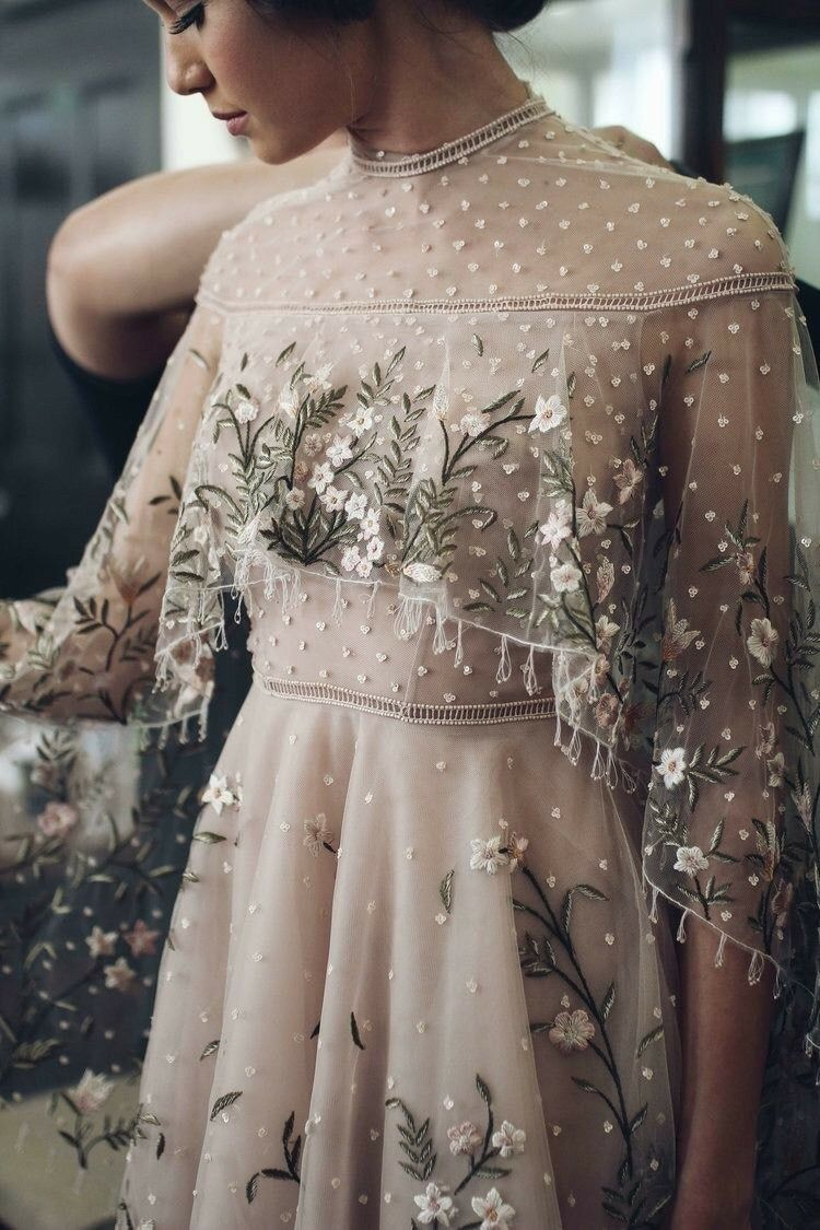 Long floral dress for wedding  embroidered dress  floral dress  long sleeve dress  formal  long
