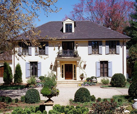 Country FrenchStyle Home Ideas Exterior makeover Blue shutters