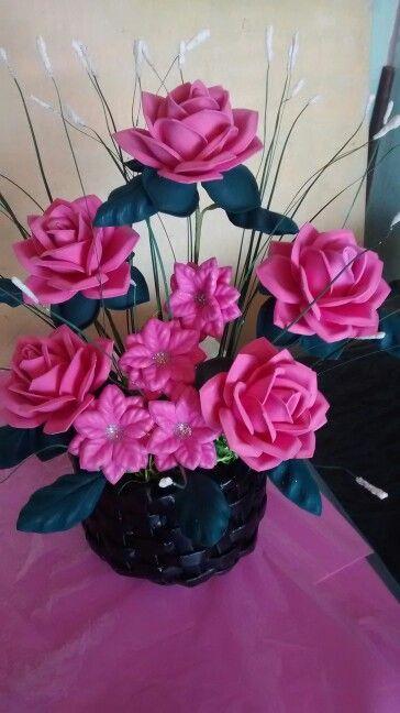 Centro De Mesa Con Flores En Goma Eva Arranjos De Flores
