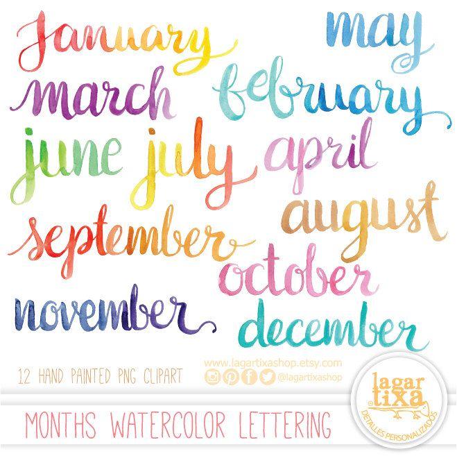 Meses del Año Letras en Acuarela cursiva PNG Clipart lettering ...