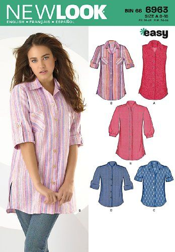 New Look Sewing Pattern 6963 Misses\' Tops, Size A (8-10-1 ...