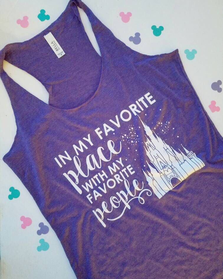 PURPLE Favorite Place Disney Tank, Disney Honeymoon Shirts, Disney Couples Shirts, Disney Racerback Tank #favoriteplaces