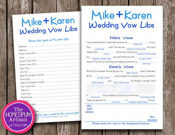 Funny Wedding Vows Mad Lib Bridal Shower Game - Printable Or Printed ...