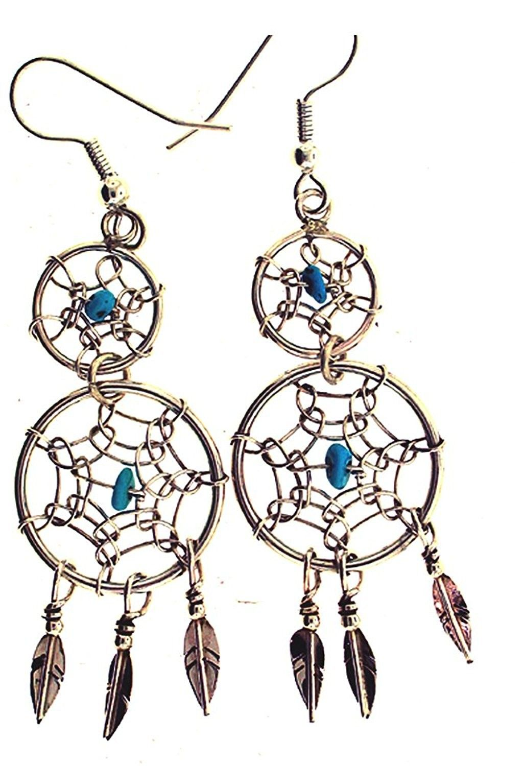 By Navajo Artist Lorenzo Arviso Large Sterling-Silver Navajo Dream Catcher Turquoise Necklace