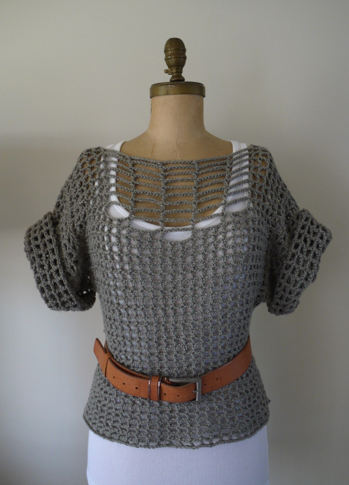 A crochet summer top made out of rectangle pieces
