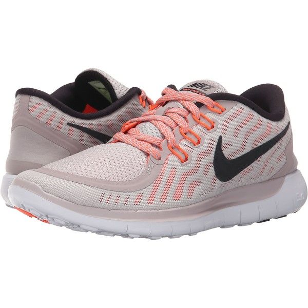 low priced 7aecc 42976 Nike Free 5.0 (Violet Ash Hyper Orange Black) Women s Running Shoes ( 50) ❤  liked on Polyvore featuring shoes, athletic shoes, pink, breathable running  ...