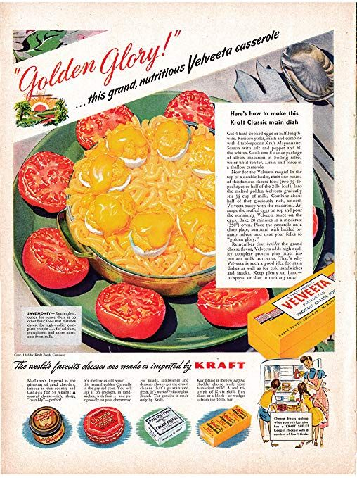 1947 Kraft Velveeta Cheese Original 13 5 * 10 5 Magazine Ad