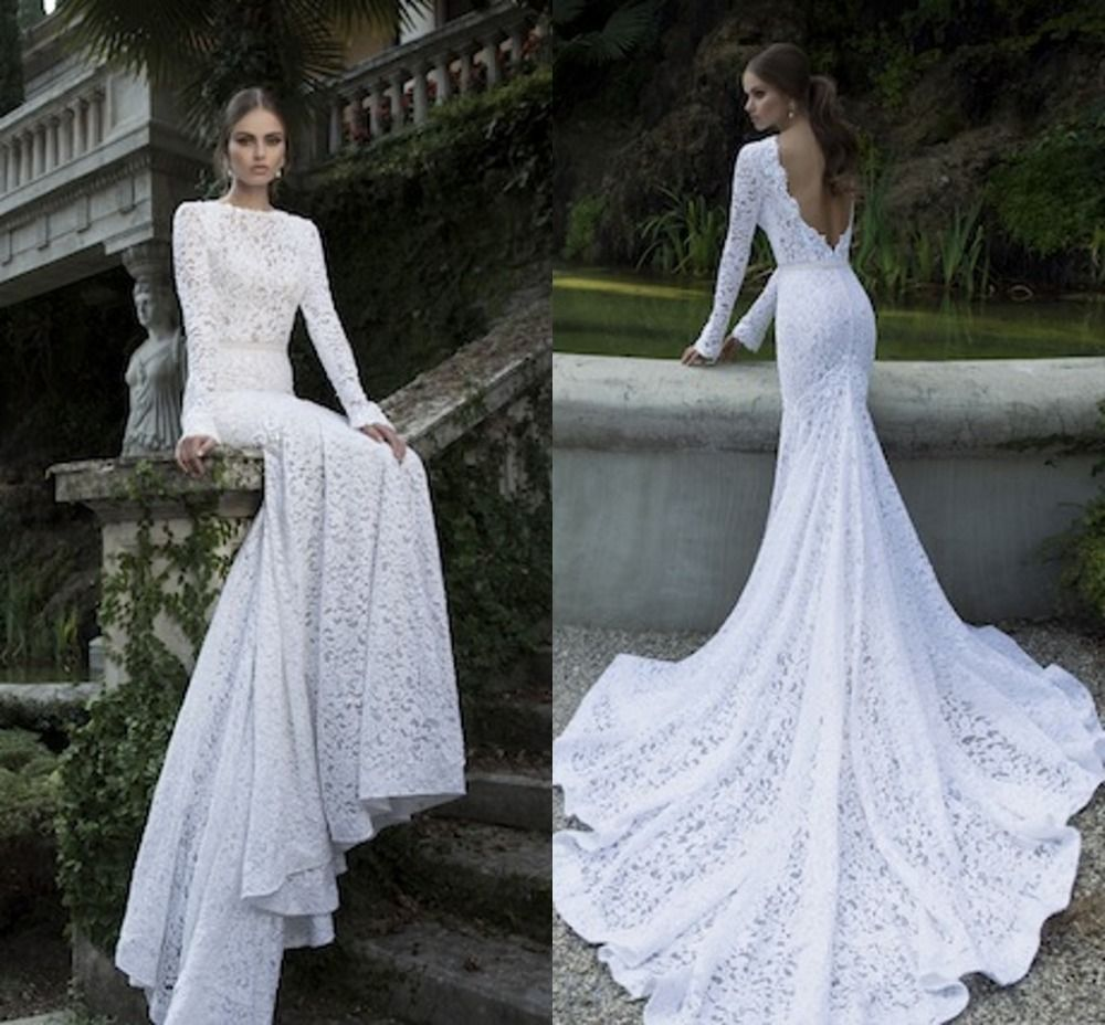 Free Shipping 2014 Mermaid Low Back Chapel Train Vintage Lace Long Sleeve Wedding Dress By Berta