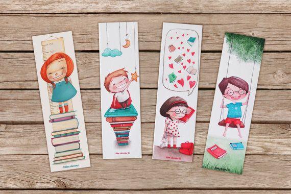 Segnalibro Bambini ~ Set segnalibri illustrati stampe alta qualità con bambini