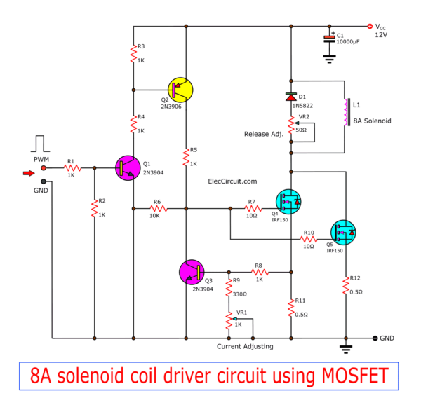 8A solenoid coil driver circuit using MOSFET | ElecCircuit