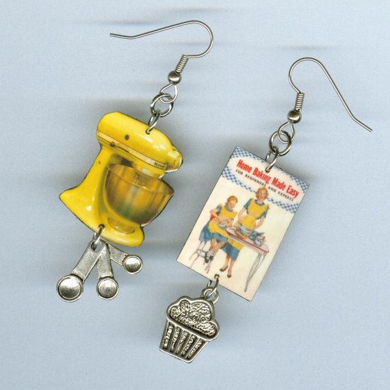 Baking made Easy EARRINGS~~  The cupcakes arent going to make themselves!....Get that old dogeared cookbook and dented up mixer out and get
