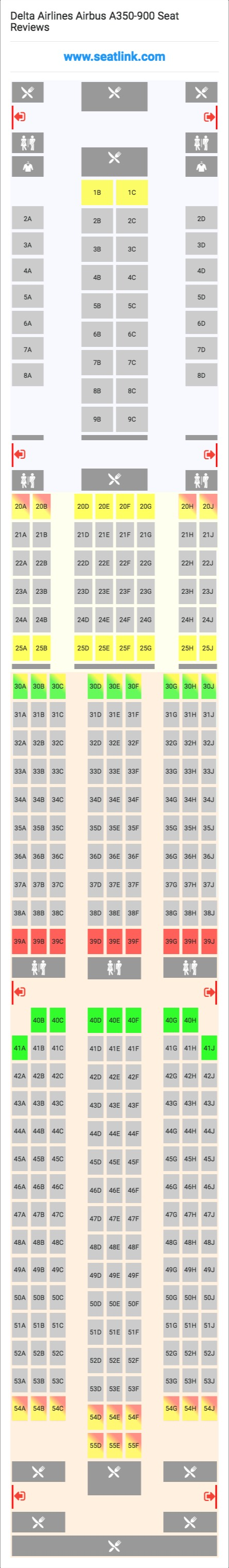 Delta Airlines Airbus A350 900 359 Seat Map Delta Airlines Airbus Airlines