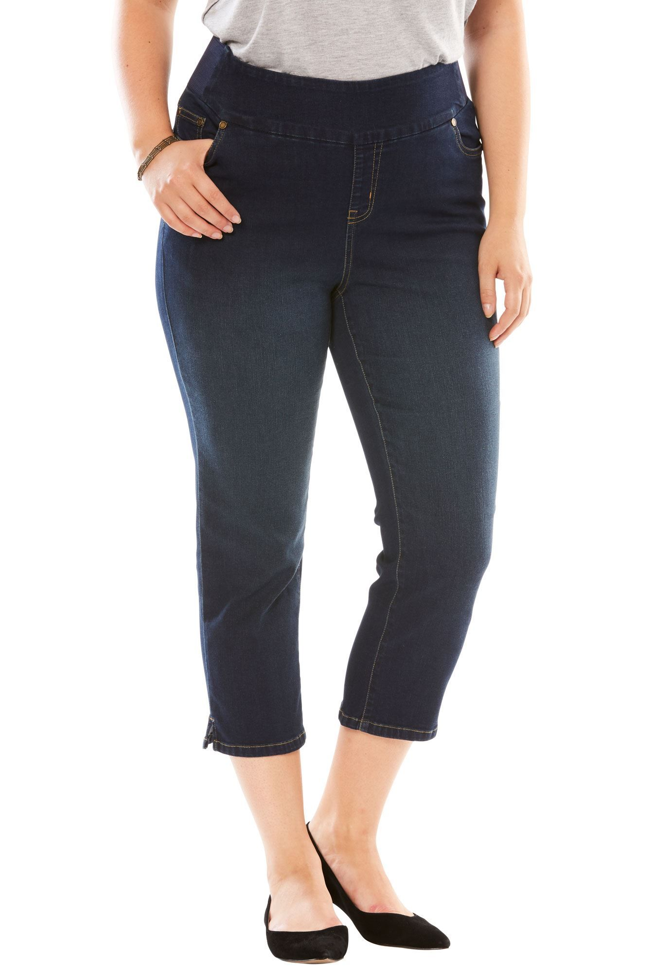 Woman Within Womens Plus Size Petite Smooth Waist Capri Jean