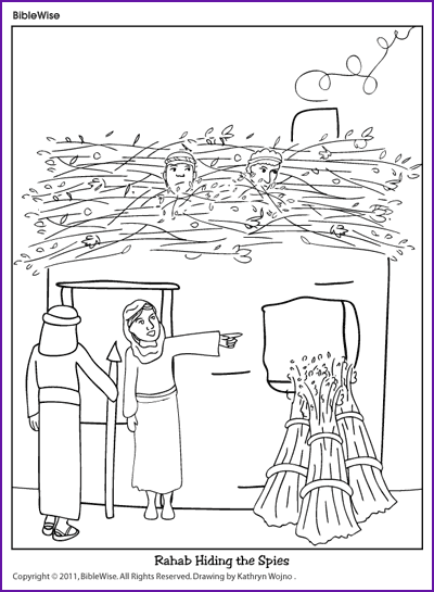 Coloring Rahab Hiding The Spies Kids Korner Biblewise Sunday School Kids Bible For Kids Bible Coloring Pages
