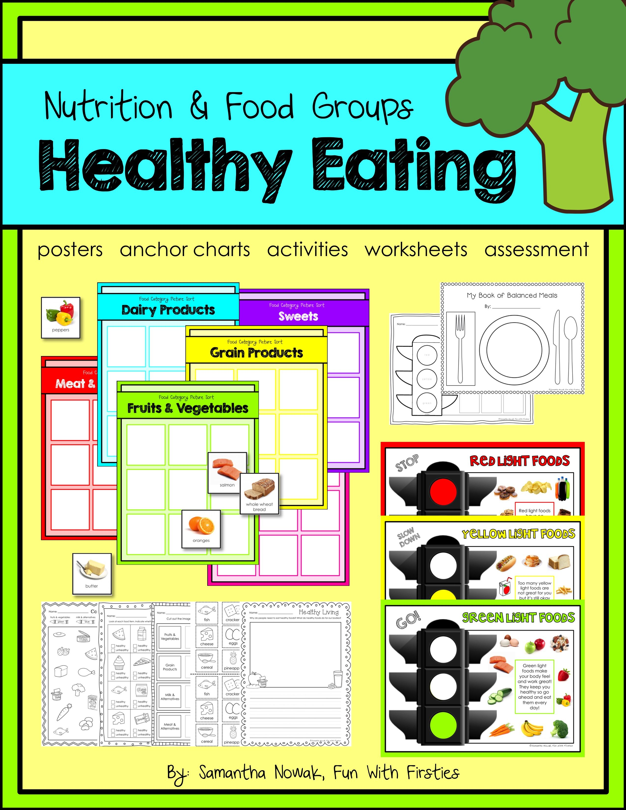 worksheet Healthy Food Sorting Worksheet healthy eating a nutrition food groups pack with activities an entire unit all about features posters anchor chart and pocket chart
