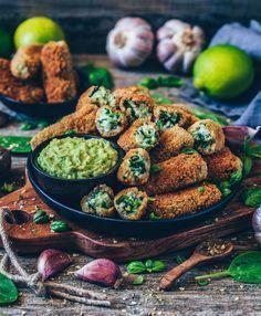 Vegane Kroketten mit Spinat (glutenfrei)