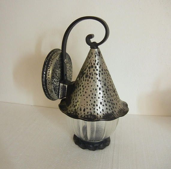 Vintage Porch Light Cottage Storybook Style Witches Hat Exterior Light  Fixture   Cast Hammered Pewter