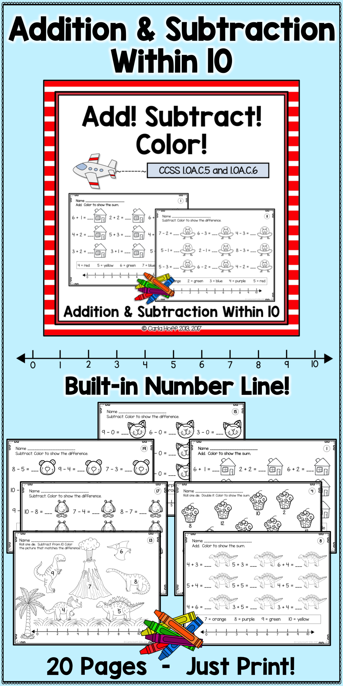 Addition And Subtraction Worksheets Within 10 With Number