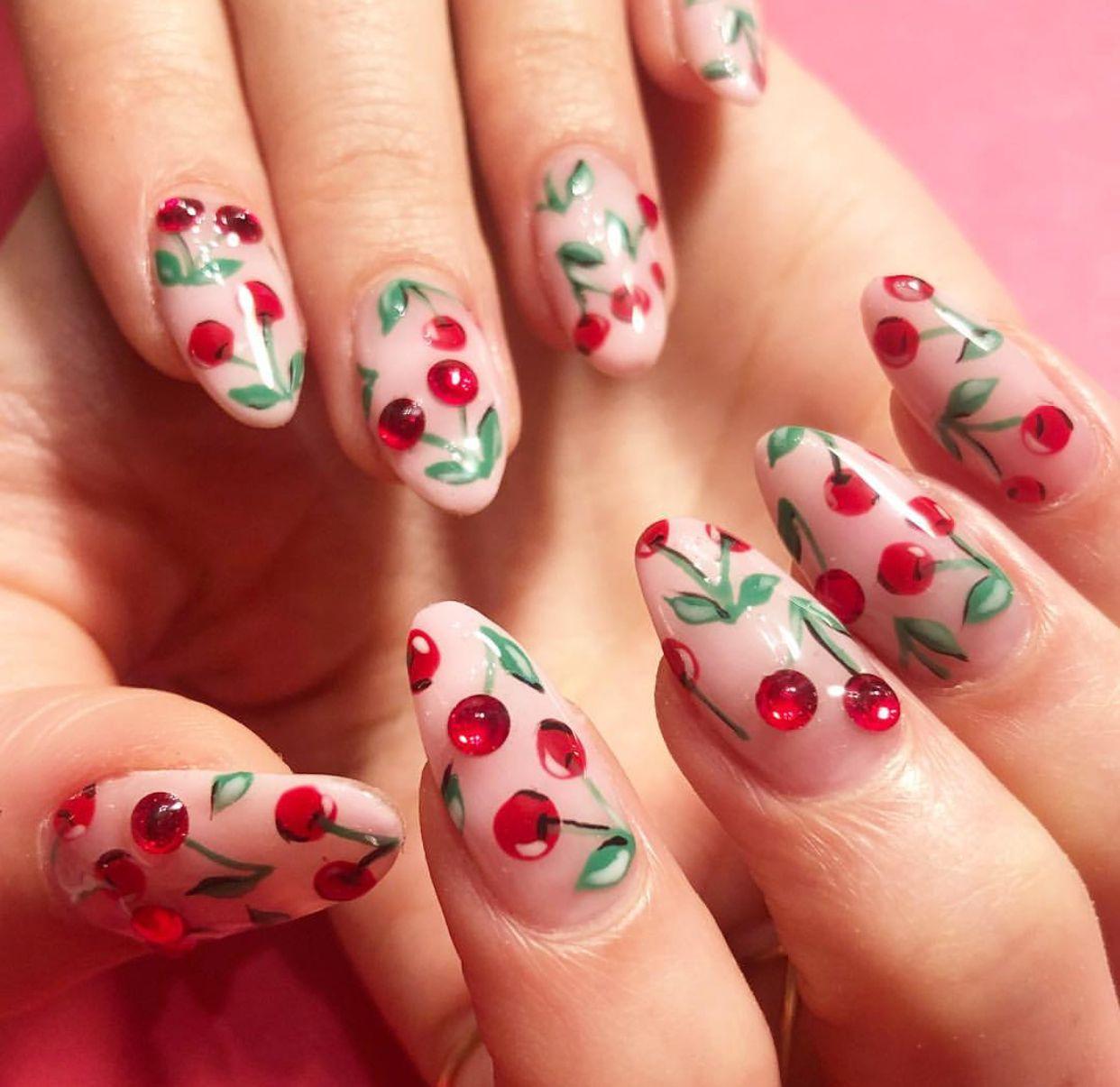 Top 5 Nail Art Tips For Beginners Expert Advice: Cherry 🍒 Nail Art Nail Design #nailart #naildesign