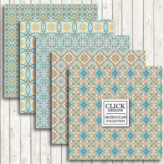 moroccan digital paper retro moroccan tiles retro. Black Bedroom Furniture Sets. Home Design Ideas