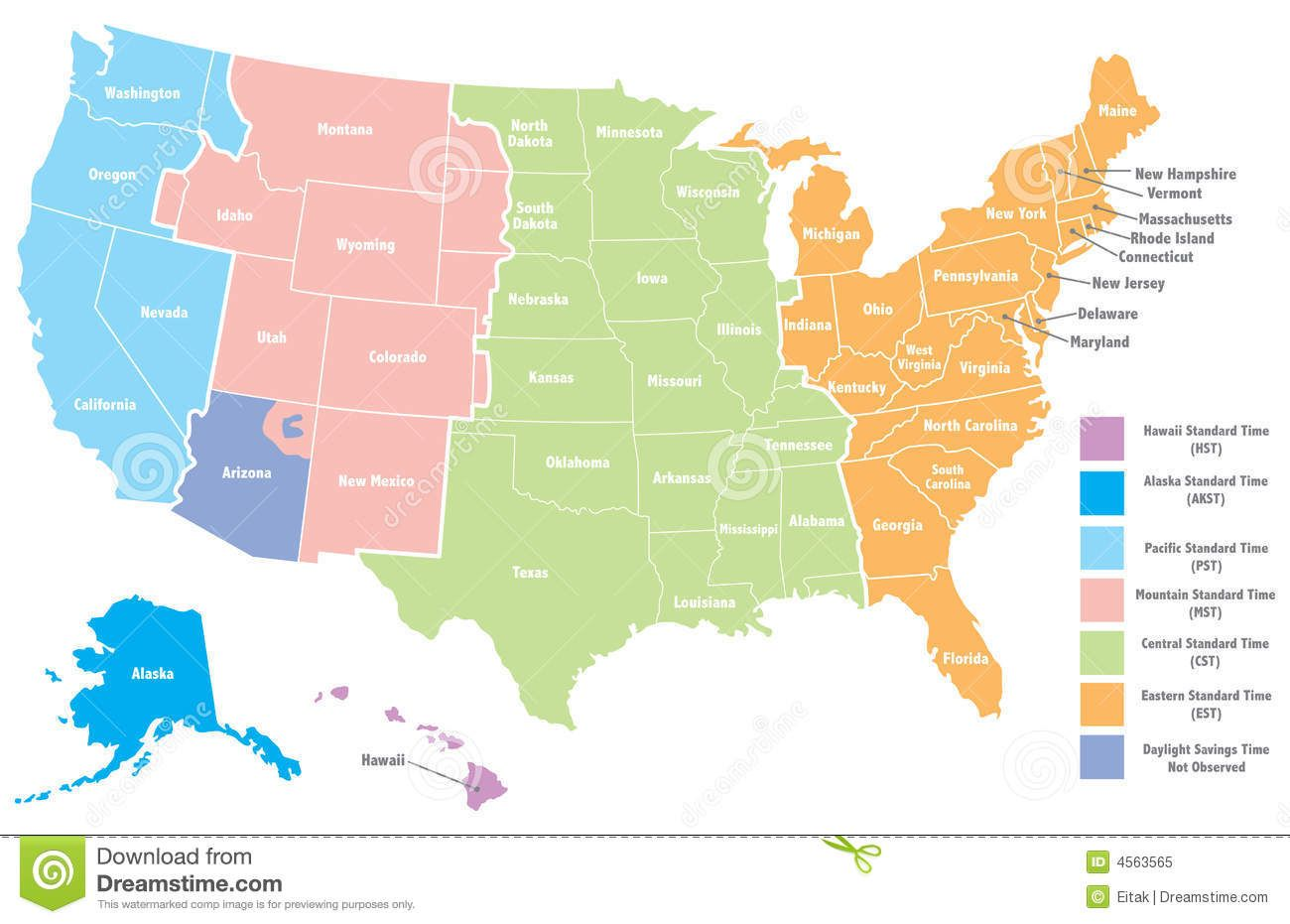 USA Time Zone Map With States Cities Clock About Within ...