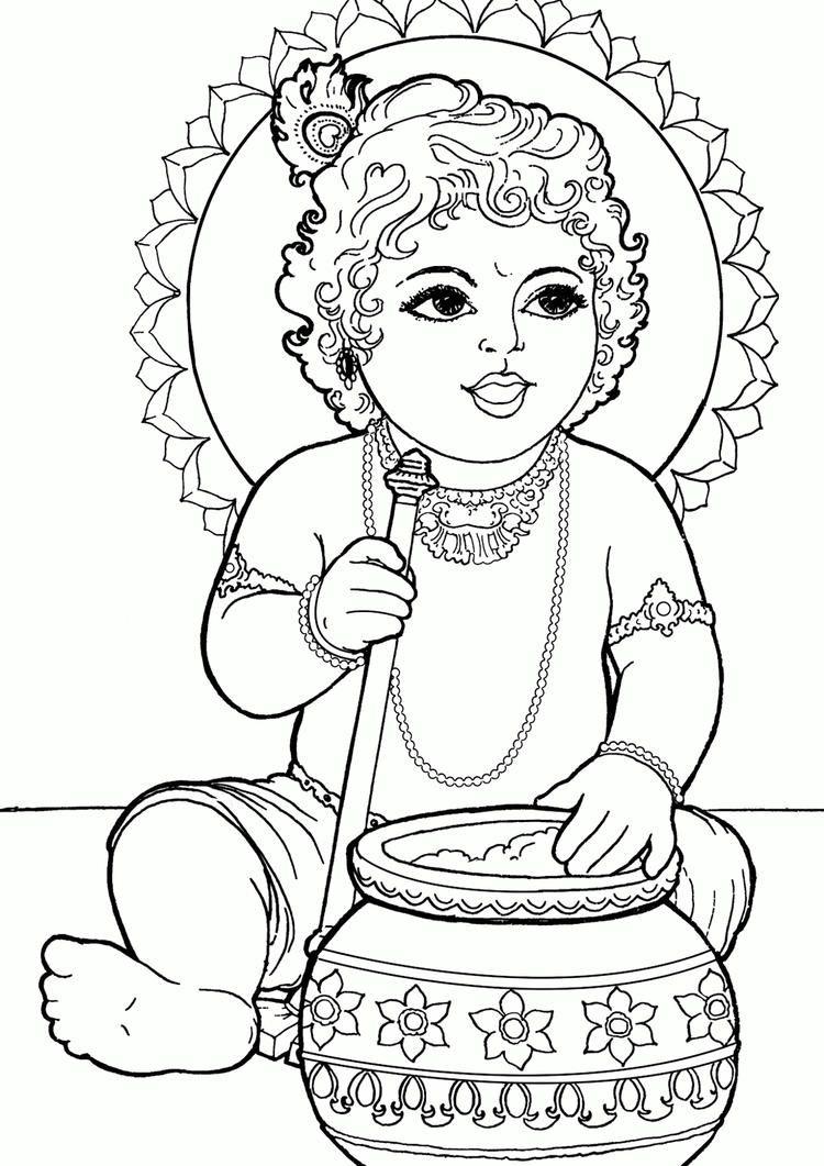 Baby Krishna Coloring Book To Print Coloring Book Art Krishna Drawing Mandala Design Art