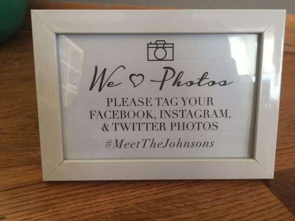 4x6 White Picture Frames / Wedding Hashtag Frames