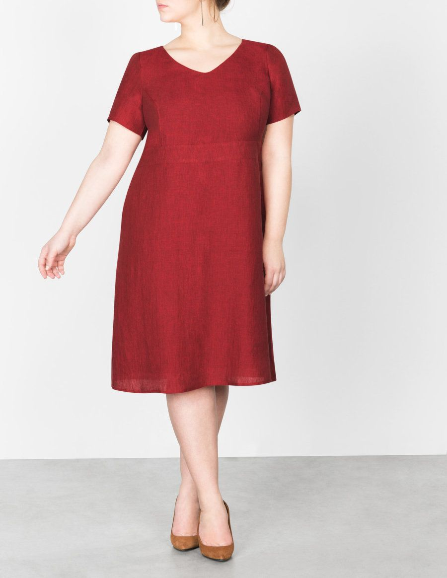 Navabi linen empire waist dress in red inspirations colors shapes