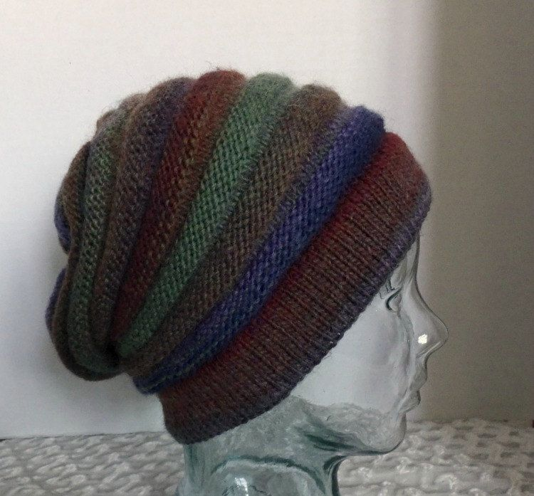 SOLD Hand Knit Hat Slouchy Tam Blue Brown Gold Teal Striped 6bb8cf2ae7e7