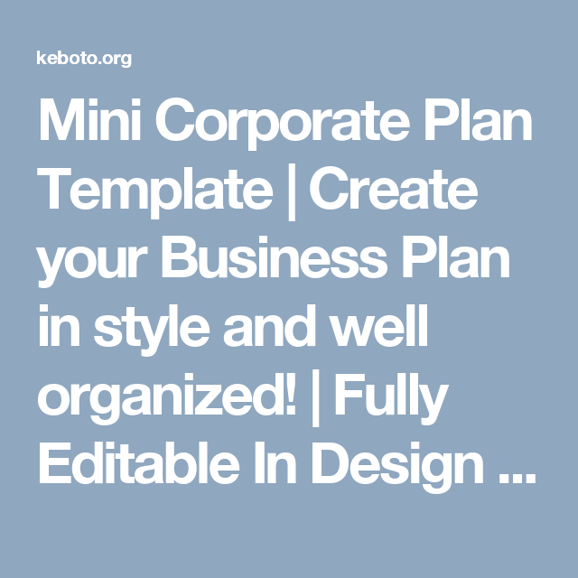 Mini Corporate Plan Template Create Your Business Plan In Style
