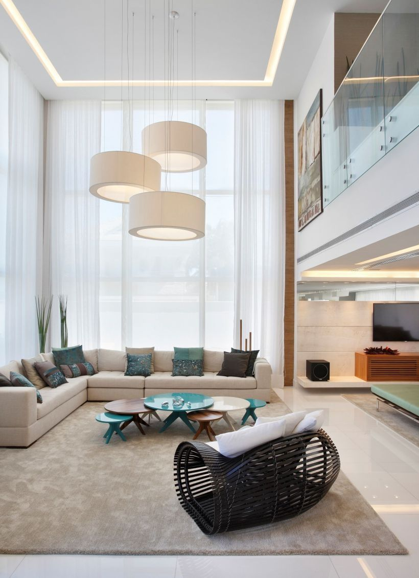Living room interior high ceiling modern lighting also love the fireplace and wall etc my new home ideas in pinterest rh br