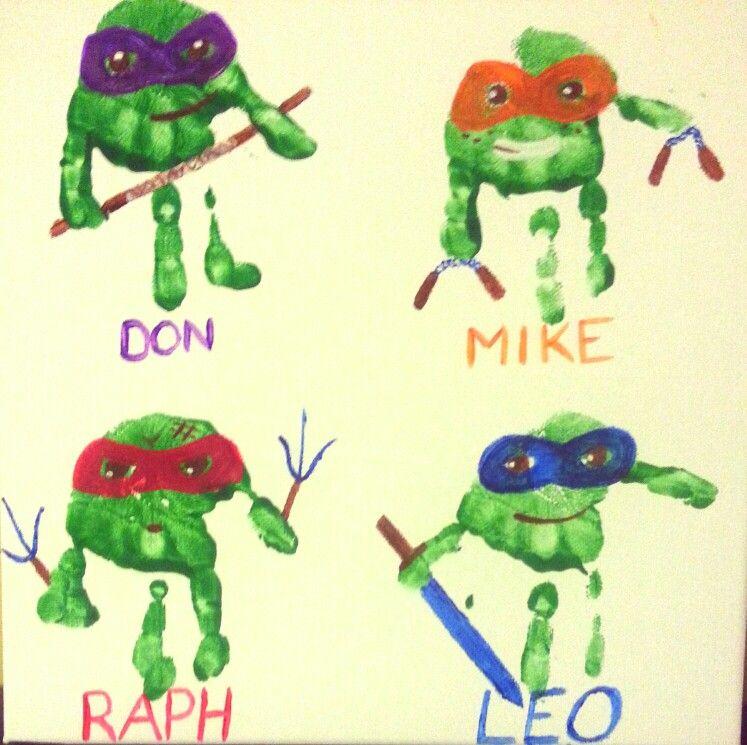 Ninja turtle hand prints | Handprint crafts, Handprint art ...