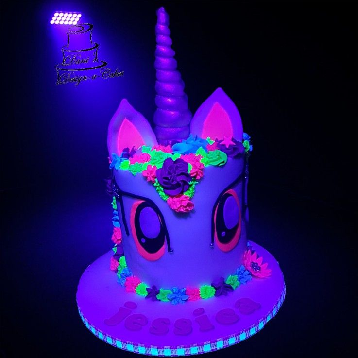Astonishing 6 Inch Unicorn Cake Lumo Colours Silver Horn Uv Cake With Images Personalised Birthday Cards Veneteletsinfo
