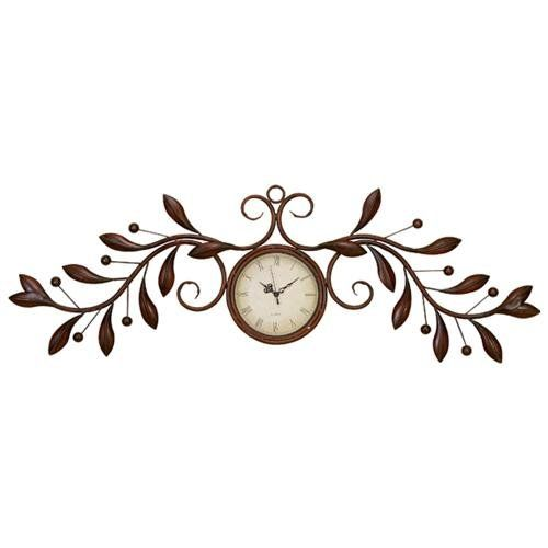 Metal Leaf Wall Decor round wall clock with metal leaf wall decor sculpture | home decor