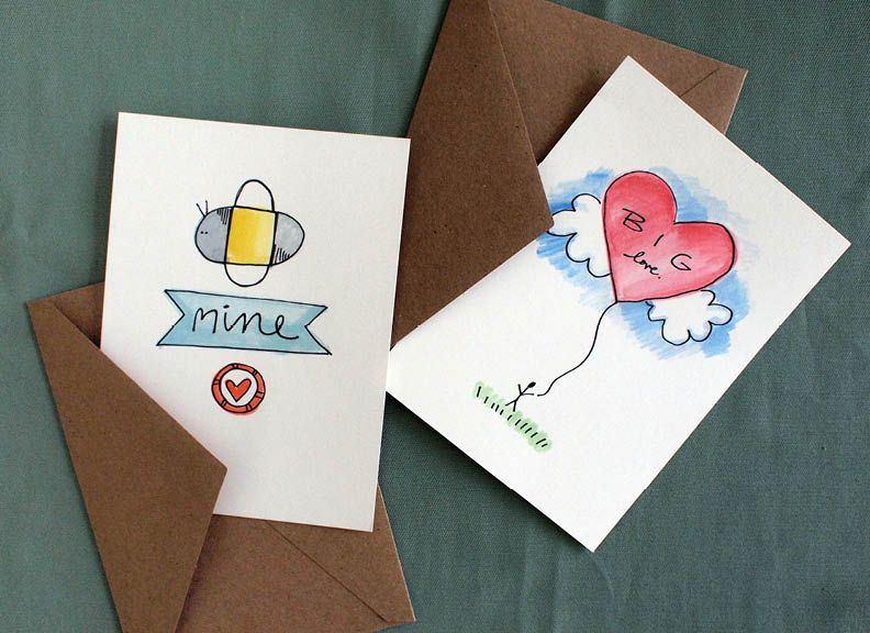 DIY Valentine Cards  A little watercolor and sharpie makes for