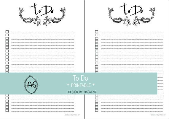 Lista De To Do Imprimible Para Agendas A6 Agenda 2017 Por Macalar To Do Lists Printable Printable Designs Planner Inserts