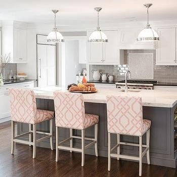 Gray Kitchen Island With Pink Trellis Counter Stools  Kitchens Endearing Counter Stools For Kitchen Design Decoration
