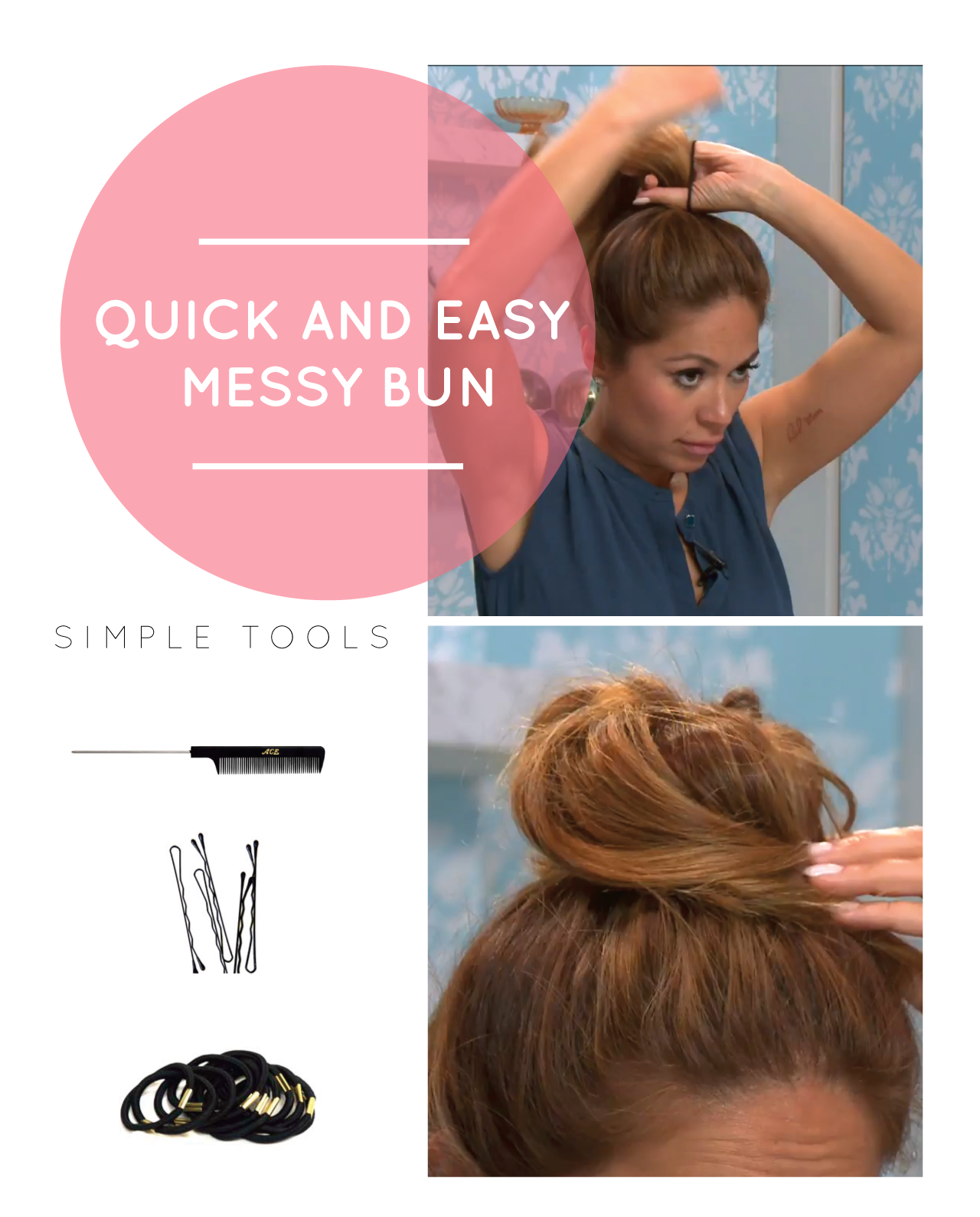 How To Do A Quick And Easy Messy Bun Hair Nails Makeup
