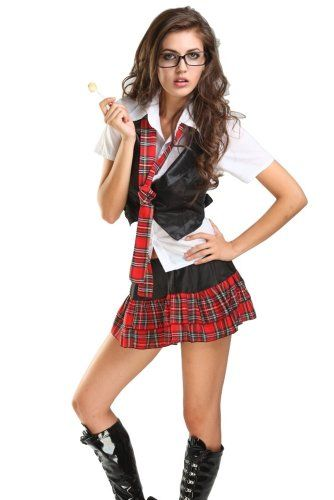 Intimates Sexy School Girl Uniform Adult Costume Set Roleplay Fancy Party Dress Halloween Costumes Arianna Muratori