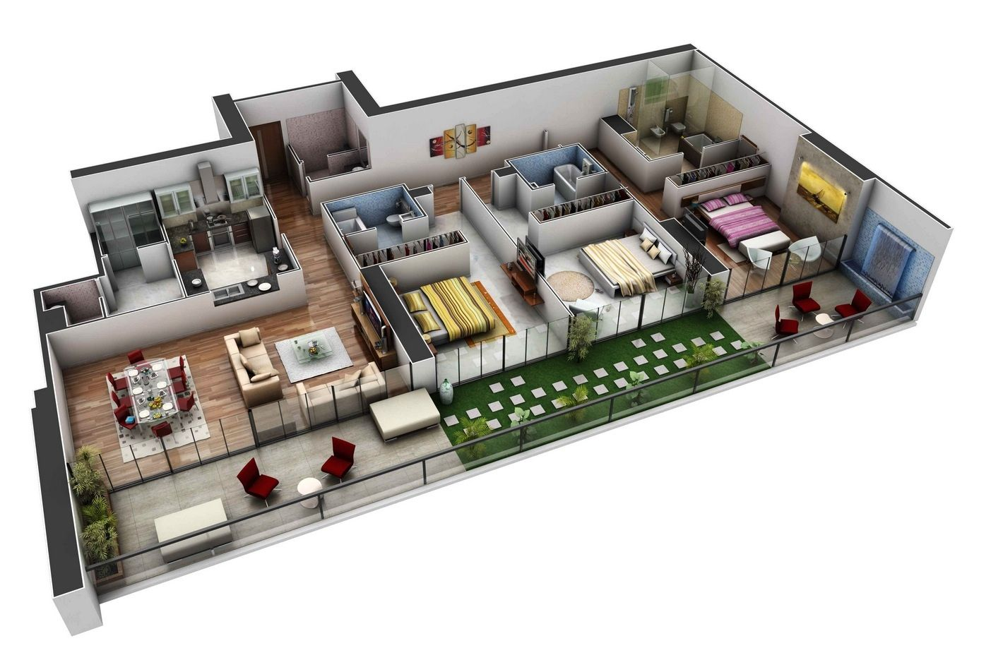 50 Three 3 Bedroom ApartmentHouse Plans Roommate Bedrooms